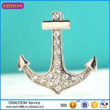 Aleación de metal Colgante de piedras preciosas, Ancla de plata colgante de marinero # 13417