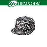 Custom Super Cotton Flat Brim Black Snapback Caps