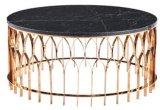 Vector de té superior de cristal endurecido final ligero del café del oro con el bastidor base de los Ss 304 del espesor de 2m m
