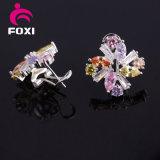 최신 판매 형식 꽃 은 입방 지르코니아 팔목 귀걸이