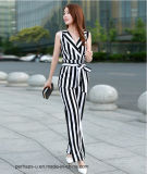 Heißen Sell Womens Chiffon- Sleeveless Jumpsuit mit Stripe Printing