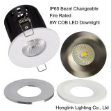 8W IP65 Luz de baño impermeable Luz de incendio LED de luz de ducha con bisel cambiable