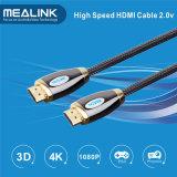 Cabo 2.0 chapeado de 24k ouro trançado de nylon HDMI 1.4