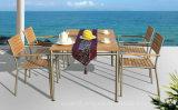 Het openlucht Meubilair van de Stoel van het Restaurant van de Eettafel van het Terras van de Tuin met Fsc het Houten 100% Roestvrij staal van Teak