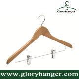 Gancho de roupa para a loja da roupa, gancho de madeira do indicador do terno