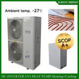 - 25c de Vloer die van de Winter Technologie Evi verwarmen van de Zaal 12kw/19kw/35kw van de Meter 100~350sq. Auto-ontdooi de Binnen Gespleten Type Gebruikte Warmtepompen van de Condensator