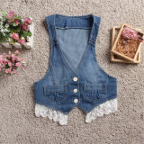 Denim blu Vest Patchwork Lace Back con Bowknot per Lady