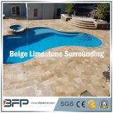 De beige Natuurlijke Tegel van de Steen/van het Kalksteen voor Zwembad Surrouding