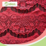 Les accessoires de vêtement ont brodé le tissu de lacet de cil de Sequin de rouge vif