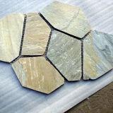 옥외를 위한 도와를 포장하는 자연적인 돌 녹스는 그물에 걸린 슬레이트
