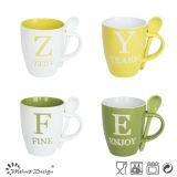 Spoon를 가진 11oz Two Tone Color Glaze Milk Mug