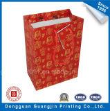 Faits sur commande de papier de couleur rouge Sac de shopping avec étiquette de cadeau