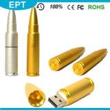 Movimentação dourada por atacado do flash do USB da forma da bala com preço barato