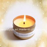Cedarwood Vanille-Sojabohnenöl-duftende Kerze im Zinn