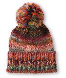 Sombrero hecho punto de acrílico de encargo de la gorrita tejida del invierno con bordado tejido de la divisa