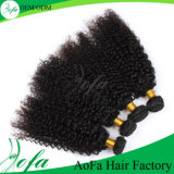 Человеческие волосы девственницы оптового горячего Weave курчавых волос типа бразильские