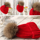 Alta calidad de la lana de punto Beanie sombrero cable POM POM personalizados sombreros de piel