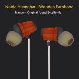 Écouteur en bois de Huanghauli de dans-Oreille tressée profonde de haute fidélité de basse pour l'iPhone