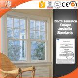 Festes Holz-Doppeltes hing Fenster, populäre kreisförmige seitliche einzelne und doppelte gehangene öffnende doppelte gehangene Fenster-Fabrik