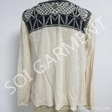Neue Art-lange Hülsen-Rayon-Krepp Emboridrey Bluse für Frauen (BL-283)