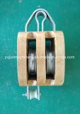 Bloque de madera regular sin la polea acanalada del doble del grillo