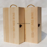 Contenitore di legno personalizzato di vino delle due bottiglie con gli accessori del vino