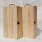 Rectángulo de madera del vino del MDF de dos botellas modificado para requisitos particulares con los accesorios del vino
