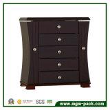 Rectángulo de almacenaje de madera de la joyería del negro del estilo de Tranditional con 4 cajones