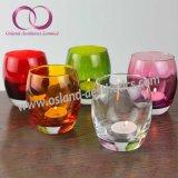 Suporte de vela de vidro transparente colorido do copo da vela da forma
