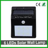 Lumière solaire de jardin DEL de mur de la bonne qualité 6 DEL de détecteur solaire extérieur de la lumière PIR