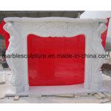 Camino di marmo intagliato superficie bianca della statua (SY-MF023)