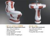 Le luxe en céramique a décoré la toilette de carte de travail avec le lavabo sur pied et le bidet