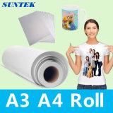 A3 A4 Rollen-Polyester-Gewebe-Sublimation-Wärmeübertragung-Druckpapier