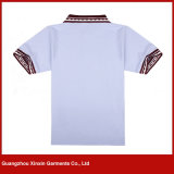 Il breve collare all'ingrosso di combinazione di colore del manicotto progetta le camice per il cliente di polo di golf delle donne (P168)