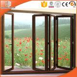 Glace solide Windows de Bifolding en bois et d'aluminium de chêne