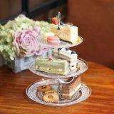 Lastra di vetro Wedding del basamento della torta della fila 3 Plates/3
