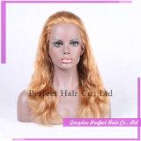 Парик шнурка человеческих волос блондинкы меда