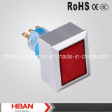 Commutateur de verrouillage momentané rectangulaire de plastique de Tête-Illumination de Hban