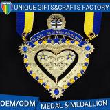 Medalha do esporte da concessão do metal da liga do zinco com fita