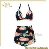 Проложенная флористическая печать сделанная в Swimsuits женщин бикини Китая