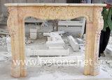Rosafarbener MarmorStatued geschnitzter Kamin (MSDF-009)