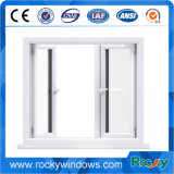 White Color Double Glass Vinyl PVC Casement Windows para construção residencial