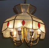 نحاس أصفر [بندنت لمب] مع زجاجيّة زخرفيّة 19004 مدلّاة إنارة