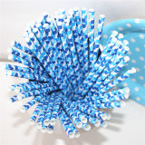 Eco-Friendly Blue Dot la paja de papel para la fiesta