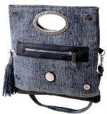 As bolsas as mais atrasadas do Rhinestone da mulher da bolsa da tela de Jean da forma