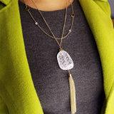Jóia de traje longa da colar do pendente acrílico Crack de vidro do Tassel do metal