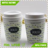 Échantillon gratuit 350ml de tasse à café en plastique avec bande de silicone