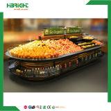 Il doppio dell'acciaio inossidabile ha parteggiato mensola di visualizzazione di verdure del supermercato