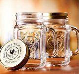 Стеклянная чашка каменщика сока чашки каменщика подгоняет чашку логоса