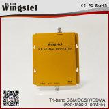 Repeater van het Signaal van de tri-band 900/1800/2100MHz 2g 3G 4G de Mobiele voor Mobiel